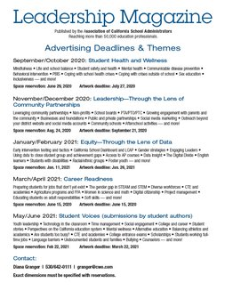 Leadership magaine themes and ad deadlines.